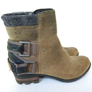Sorel Lolla 5.5 Ankle Boots Wet Sand Leather Brown